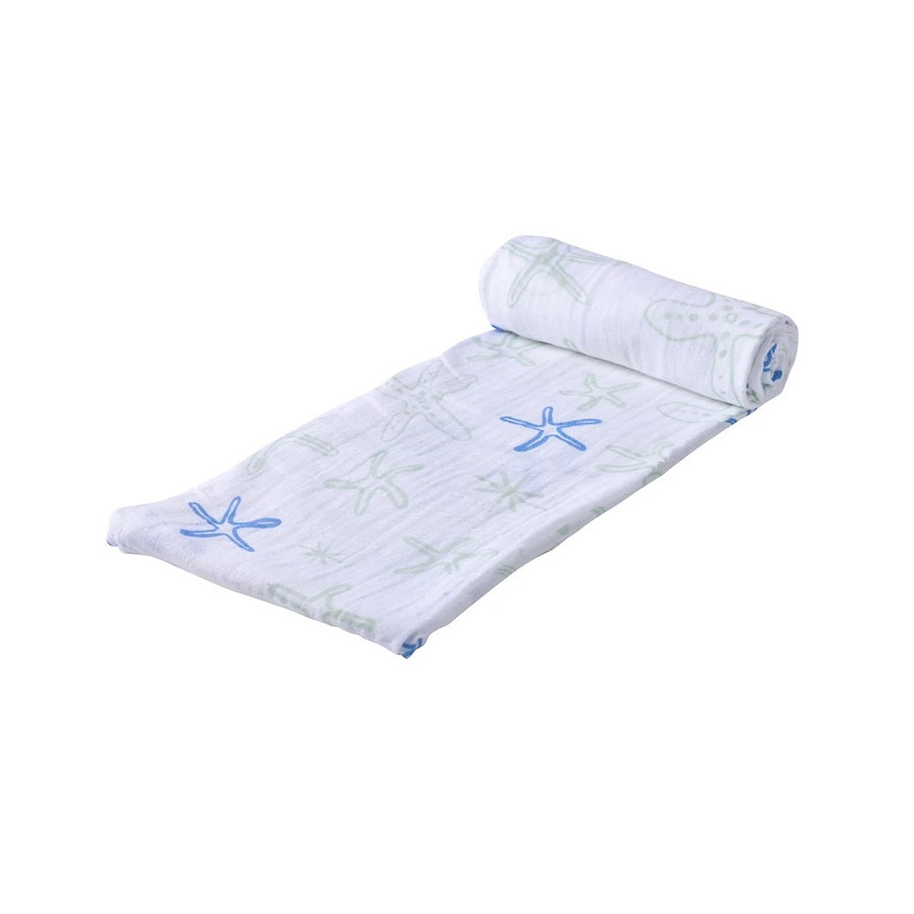 Muslin Swaddle Blanket- Starfish - Roll Up Baby
