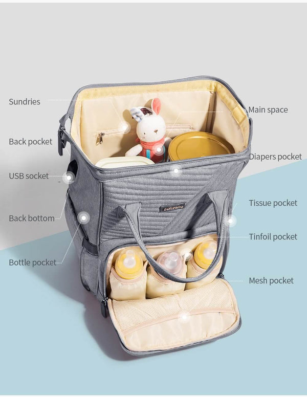 Stylish Diaper Baby Bag Backpack USB port - Roll Up Baby