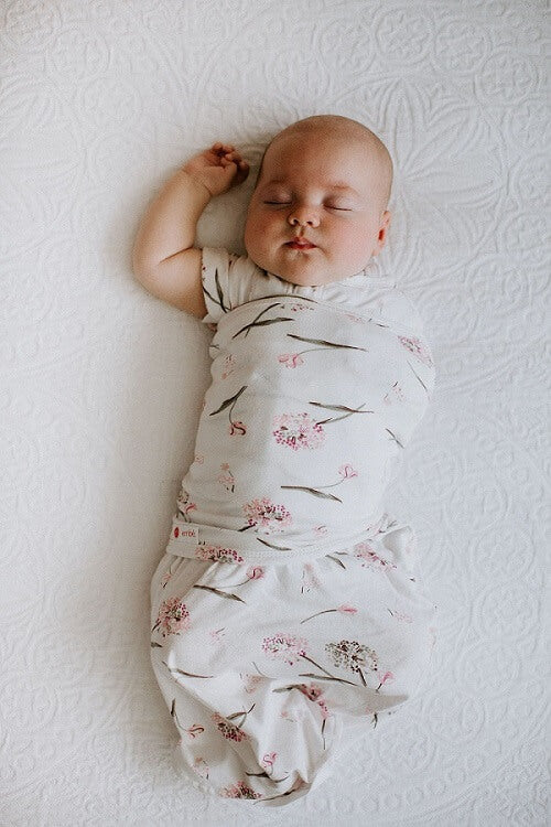 Transitional Swaddle Out - Pink Clustered Flowers - Roll Up Baby