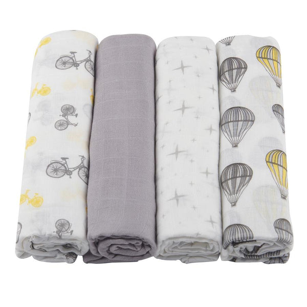 Bamboo Swaddle Blankets 4-Pack - Traveler - Roll Up Baby