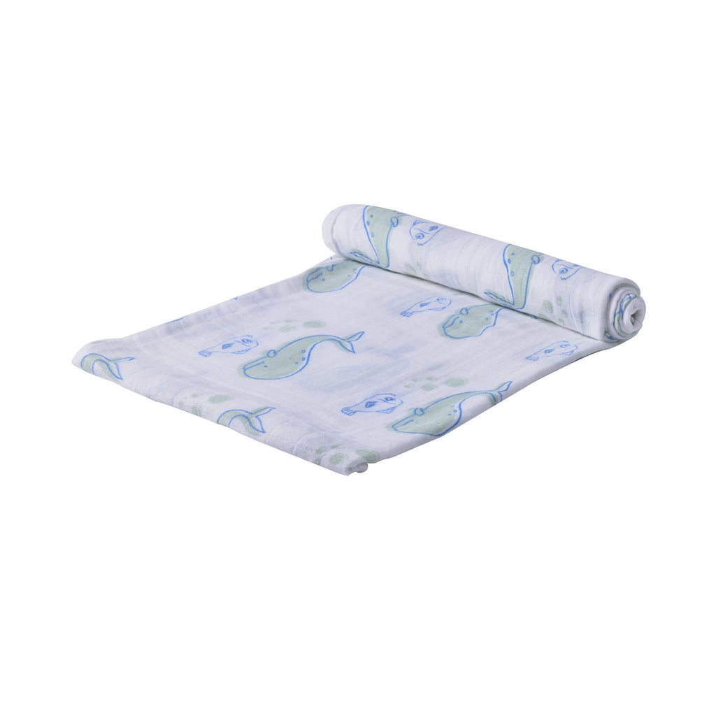 Muslin Swaddle Blankets - Whale - Roll Up Baby