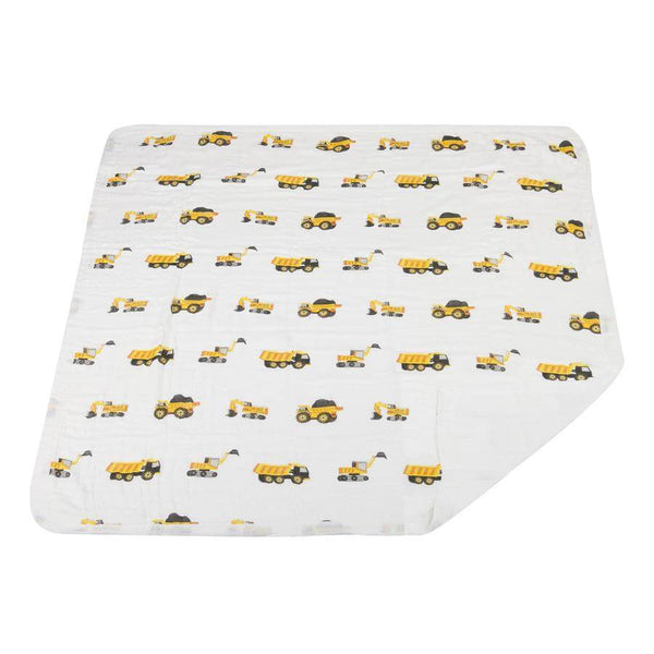 Baby Bamboo Blanket - Yellow Digger and White - Roll Up Baby