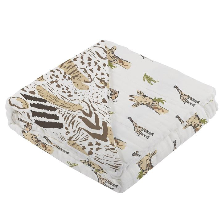 Baby Bamboo Blanket - Hungry Giraffe & Animal Print - Roll Up Baby