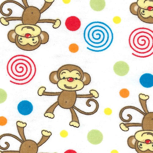 Baby Changing Pad Cover - Monkeys Deluxe Flannel - Roll Up Baby