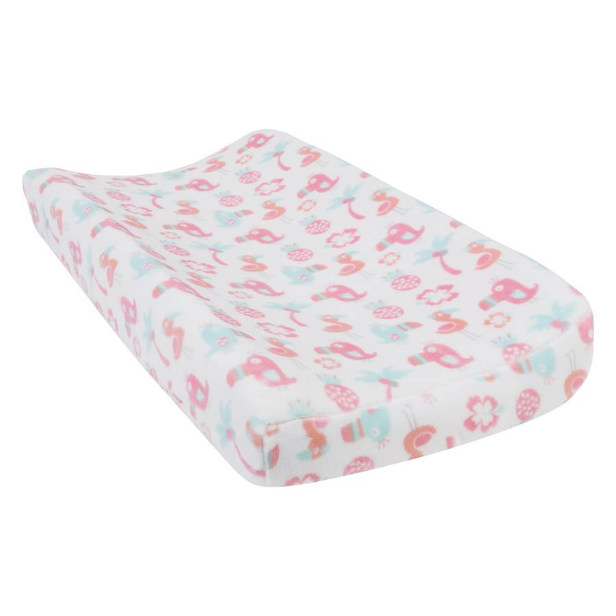 Baby Changing Pad Cover - Tropical Pastel Plush  - Roll Up Baby