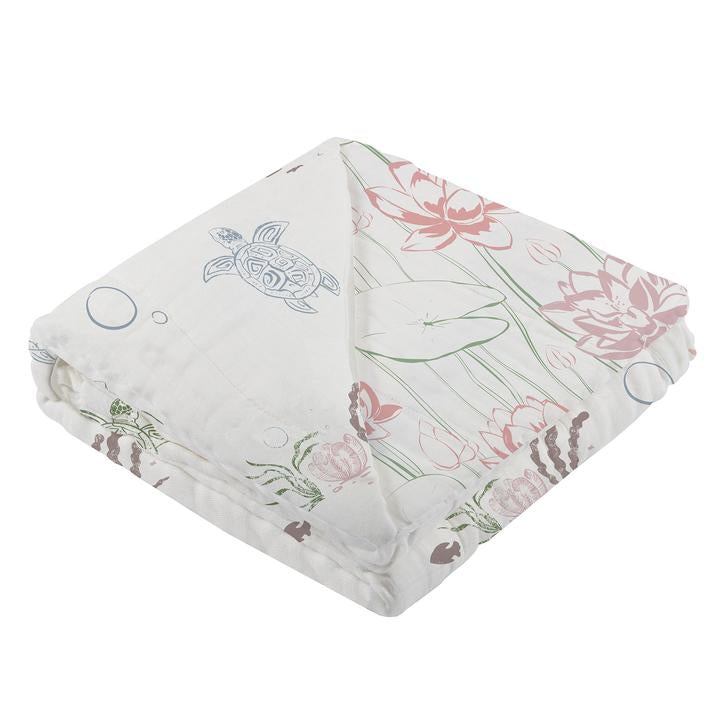 Baby Girl Blanket - Turtles & Water Lily - Roll Up Baby