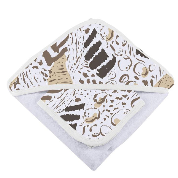 Baby Hooded Towel & Washcloth Set - Animal Print - Roll Up Baby