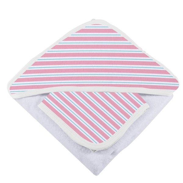 Baby Hooded Towel & Washcloth Set - Candy Stripe - Roll Up Baby