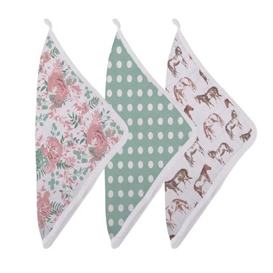 Baby Washcloth Set - Horses and Roses - Roll Up Baby
