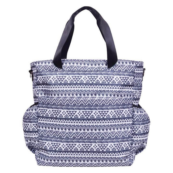 Black and White Aztec Tote Diaper Bag - Roll Up Baby