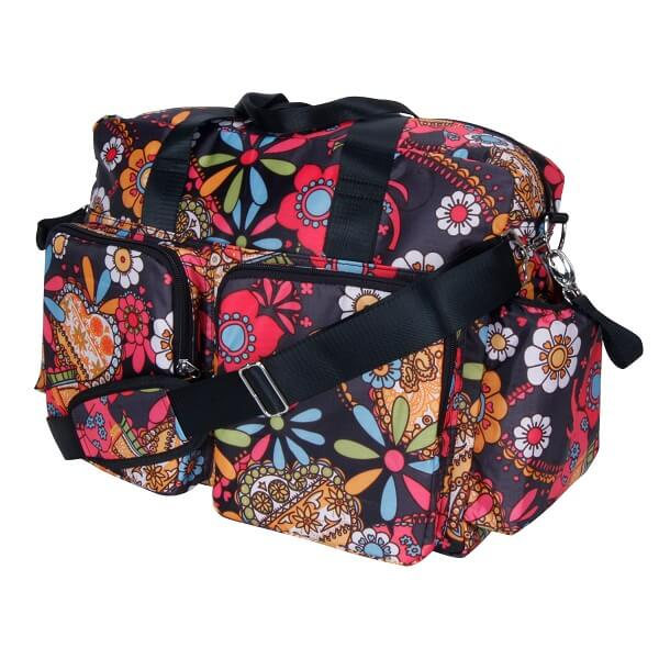 Bohemian Floral Deluxe Duffle Style Diaper Bag - Roll Up Baby