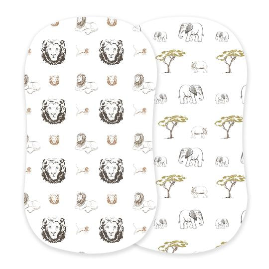 Boy Bassinet Sheets Hear Me Roar Lion and Rhinos and Elephants - Roll Up Baby