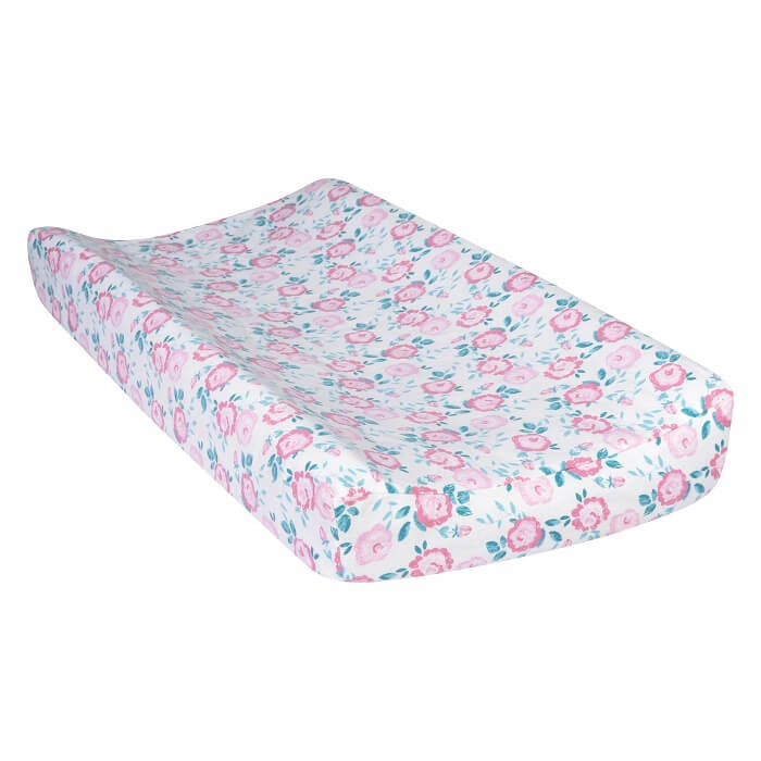 Changing Pad Cover - Emma Pink & Teal Deluxe Flannel  - Roll Up Baby