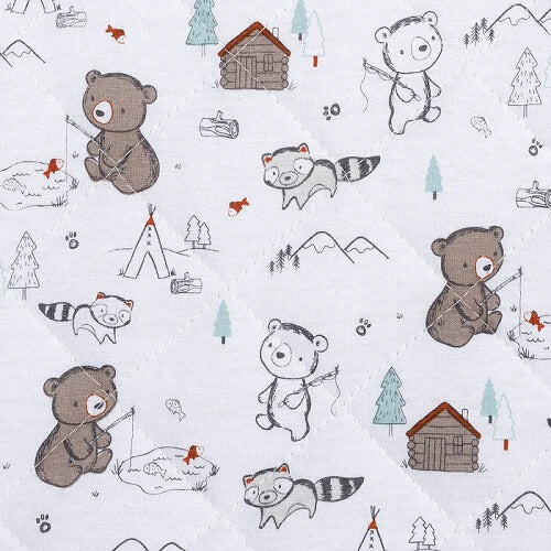 Changing Pad Cover - Fishing Bears Quilted Jersey - Roll Up Baby
