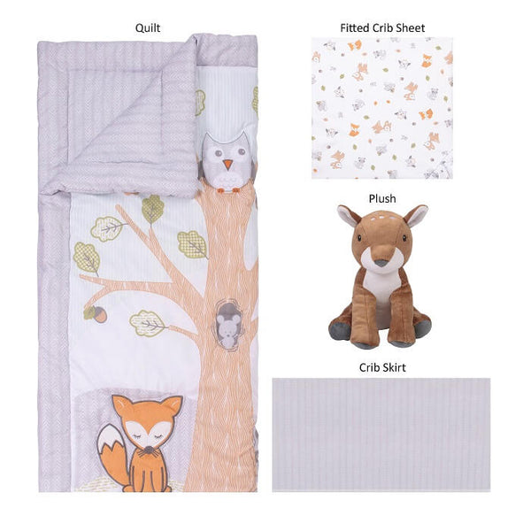 Crib Bedding 4 Piece - Friendly Forest by Sammy and Lou - Roll Up Baby