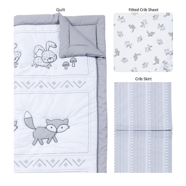 Crib Bedding Set 3 Piece - Aztec Forest - Roll Up Baby