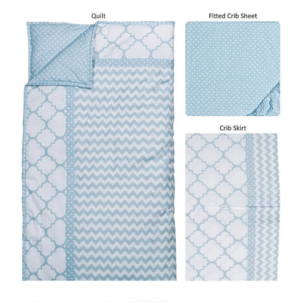 Crib Bedding Set 3 Piece - Blue Sky - Roll Up Baby