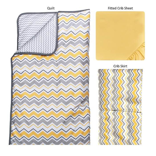 Crib Bedding Set 3 Piece - Buttercup Zigzag - Roll Up Baby