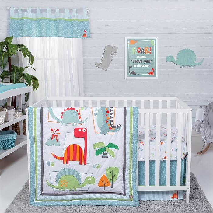 Crib Bedding Set 3 Piece - Dinosaur Roar  - Roll Up Baby