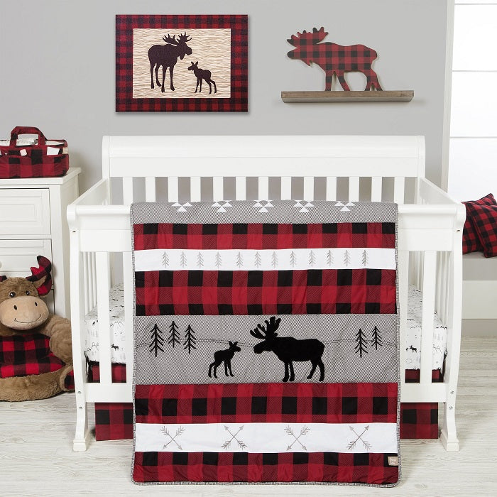 Crib Bedding Set 3 Piece - Lumberjack Moose  - Roll Up Baby