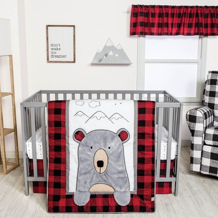 Crib Bedding Set 3 Piece - Peak-a-Bear  - Roll Up Baby