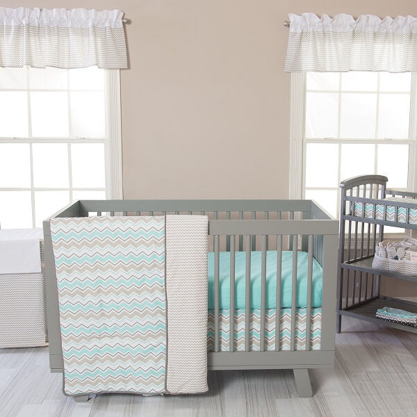 Crib Bedding Set 3 Piece - Seashore Waves   - Roll Up Baby