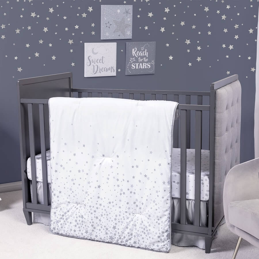 Crib Bedding Set 3 Piece - Sprinkle Stars - Roll Up Baby