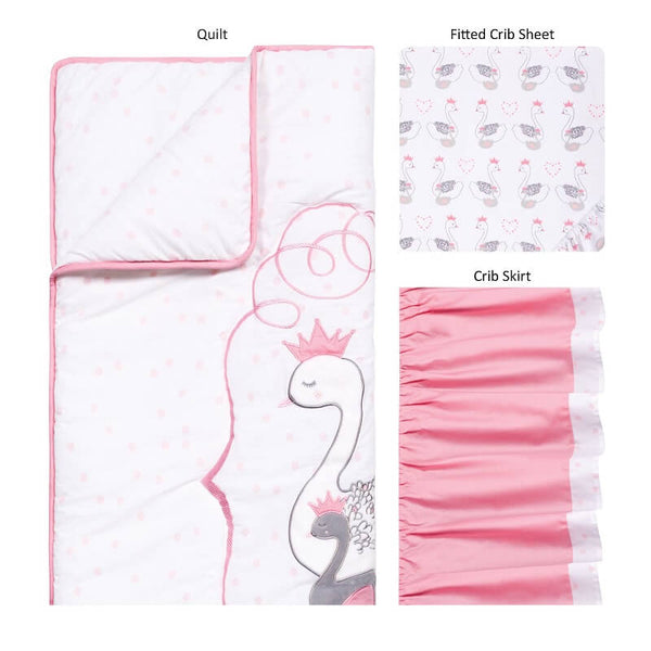 Crib Bedding Set 3 Piece - Swans - Roll Up Baby