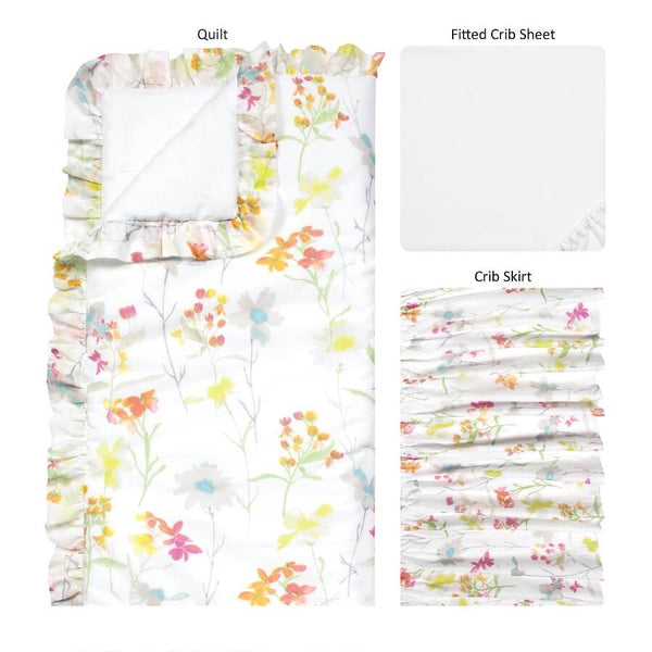 Crib Bedding Set 3 Piece - Wildflowers - Roll Up Baby