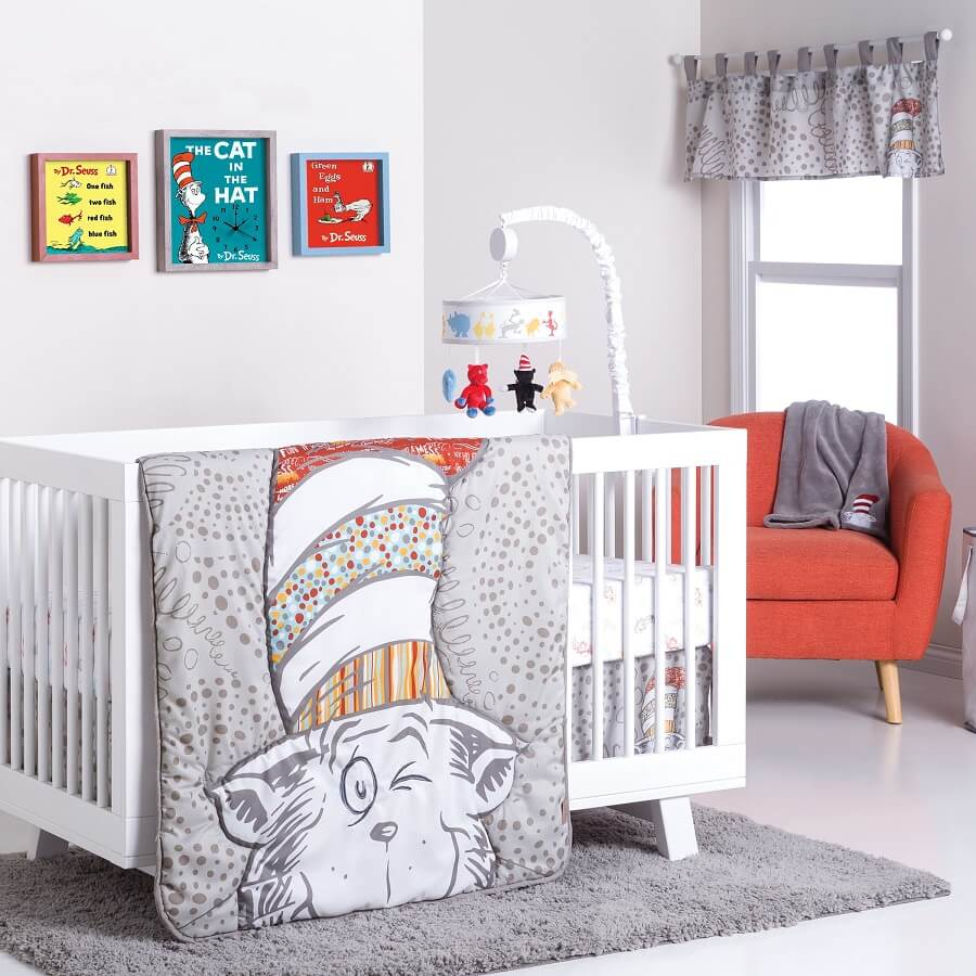 Crib Bedding Set 4 Piece Dr. Seuss™ Peek-a-Boo Cat in the Hat  - Roll Up Baby