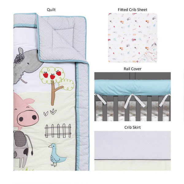 Crib Bedding Set 4 Piece - Farm Stack - Roll Up Baby