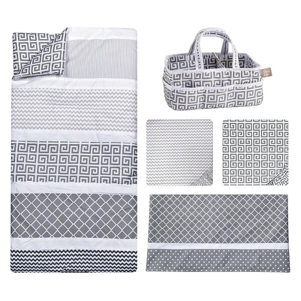 Crib Bedding Set 5 Piece - Ombre Gray - Roll Up Baby