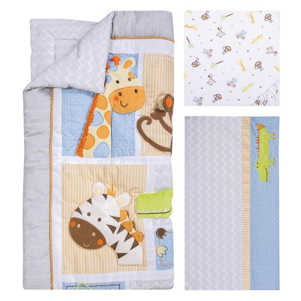 Crib Bedding Set 6 Piece - Jungle Fun  - Roll Up Baby