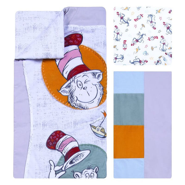 Crib Bedding Set 3 Piece - Classic Cat in the Hat - Roll Up Baby