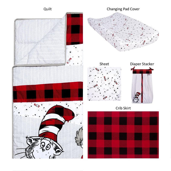 Crib Bedding Set - Dr. Seuss™ Lumberjack Cat in the Hat - Roll Up Baby