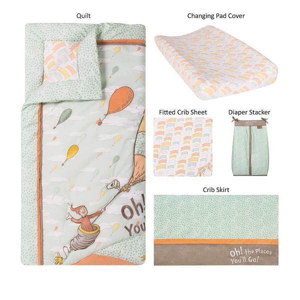 Crib Bedding Set 5 Piece - Dr. Seuss™ Oh, the Places You'll Go! - Roll Up Baby