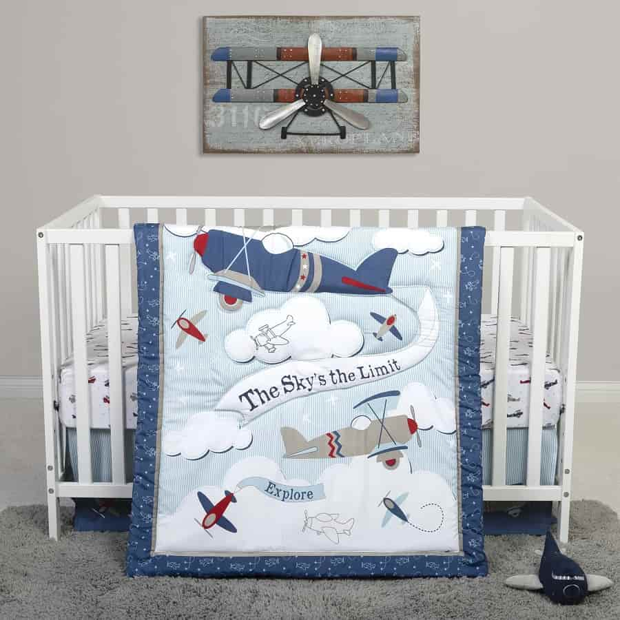 Crib Bedding Set 4 Piece - Sammy and Lou Adventure Awaits - Roll Up Baby