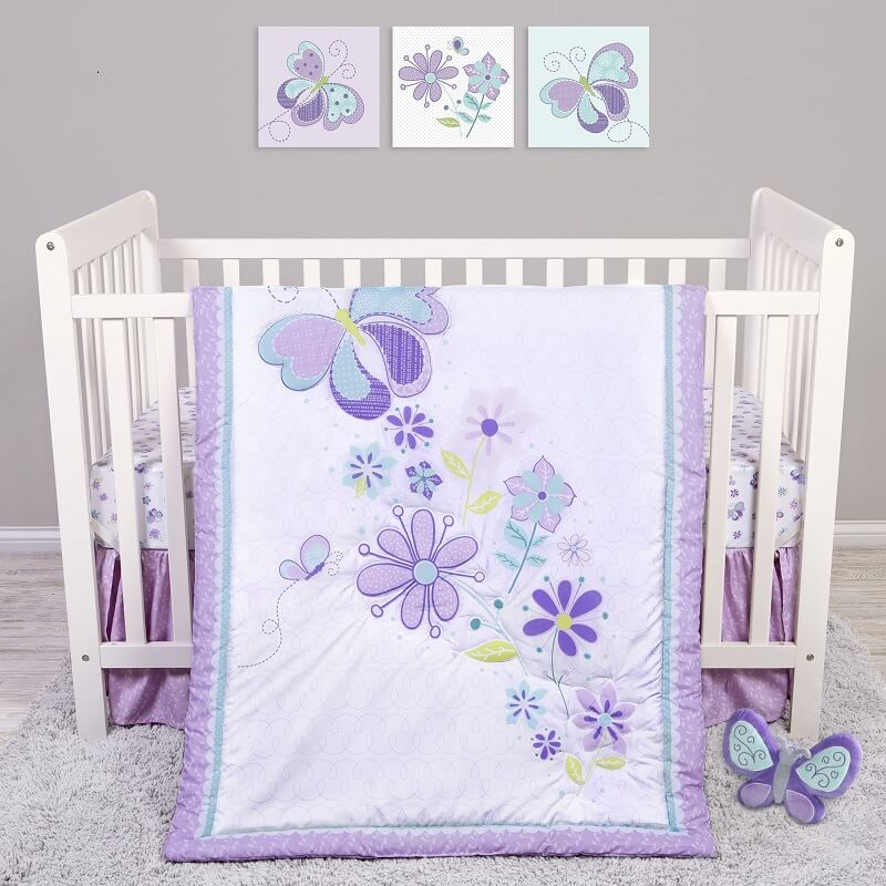 Crib Bedding Set 4 Piece - Sammy and Lou Butterfly Meadow  - Roll Up Baby