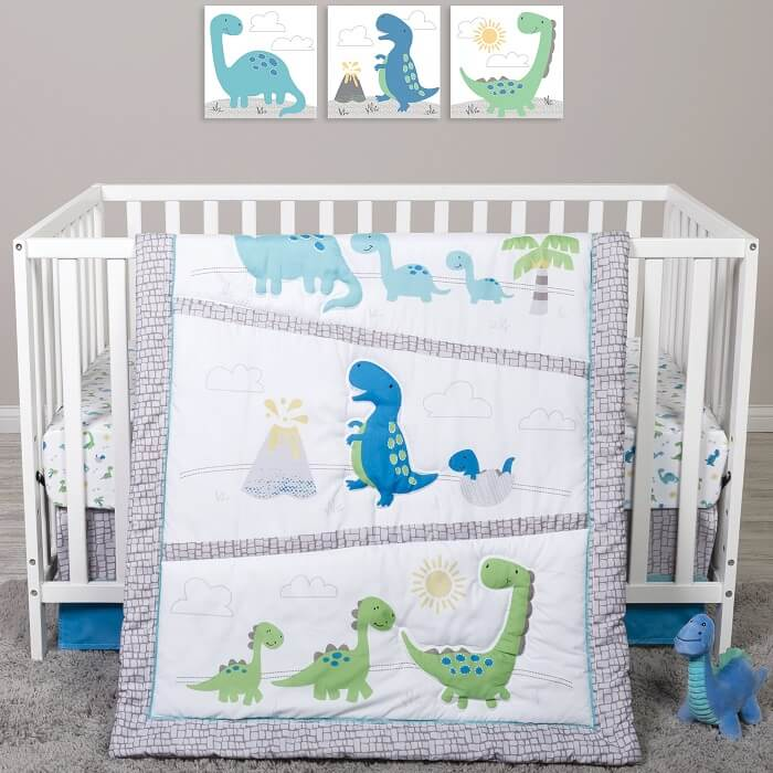 Crib Bedding Set 4 Piece - Sammy and Lou Dinosaur Pals  - Roll Up Baby