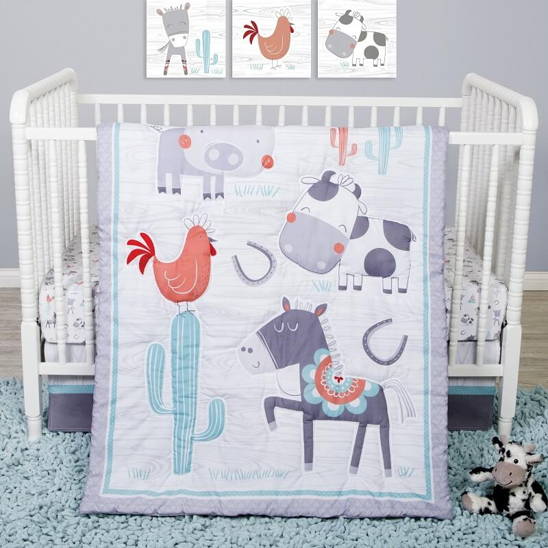 Crib Bedding Set 4 Piece - Sammy and Lou Farmstead Friends  - Roll Up Baby