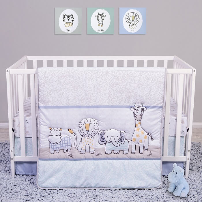Crib Bedding Set 4 Piece - Sammy and Lou Safari Yearbook   - Roll Up Baby