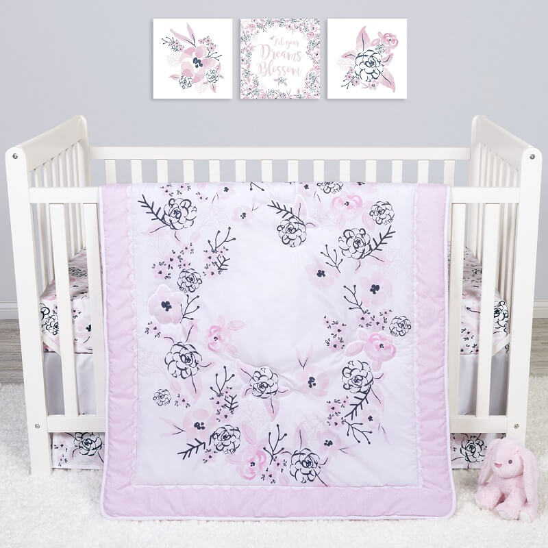 Crib Bedding Set 4 Piece - Sammy and Lou Simply Floral  - Roll Up Baby