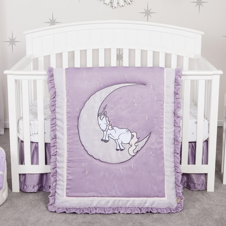 Crib Bedding Set - Unicorn Dreams 3 Piece  - Roll Up Baby