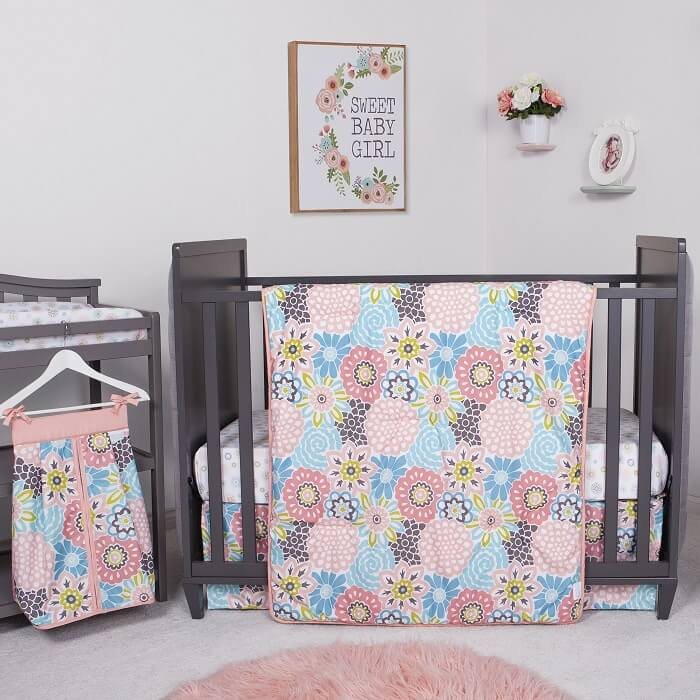 Crib Bedding Set 5 Piece Waverly® Blooms - Roll Up Baby
