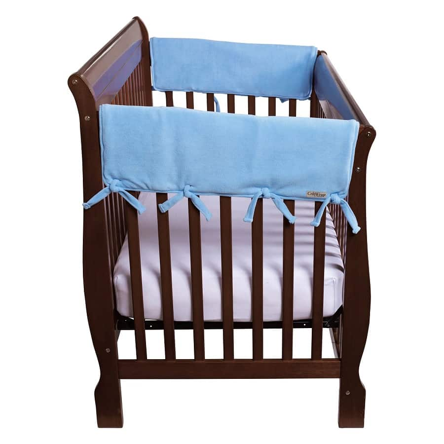 CribWrap® Wide 2 Short Blue Fleece Rail Covers - Roll Up Baby