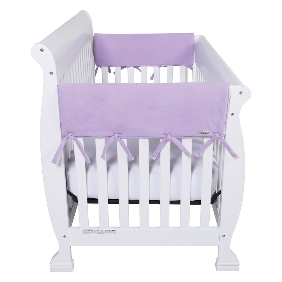 CribWrap® Wide 2 Short Lavender Fleece Rail Covers - Roll Up Baby