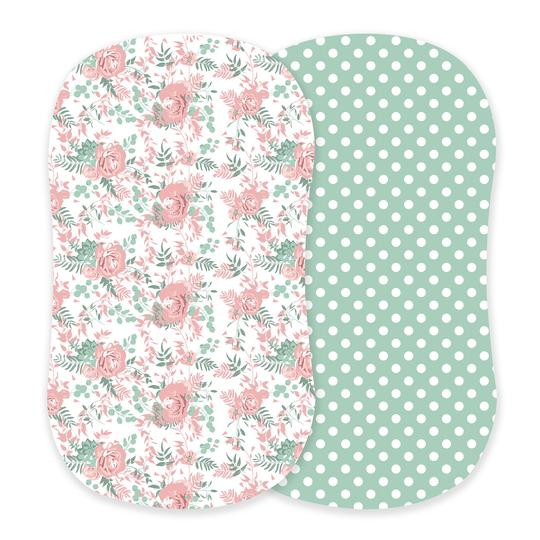 Girl Bassinet Sheets - Desert Rose and Jade Polka Dot - Roll Up Baby
