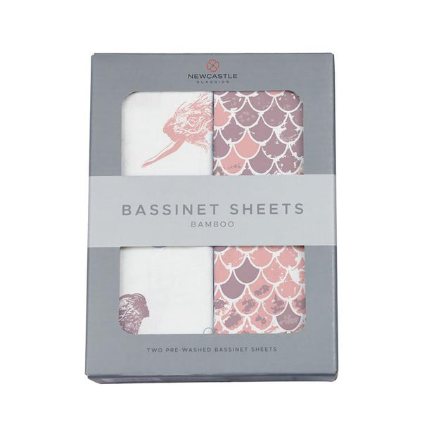 Girl Bassinet Sheets - Mermaids and Scales - Roll Up Baby