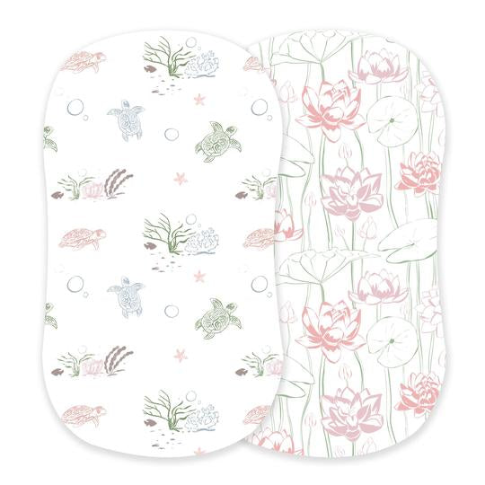 Girl Bassinet Sheets - Turtles and Water Lily - Roll Up Baby
