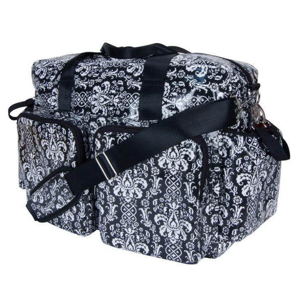 Midnight Fleur Damask Deluxe Duffle Style Diaper Bag - Roll Up Baby